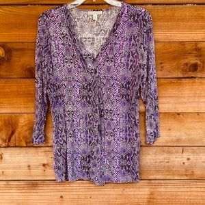Dana Buchman purple snakeskin 3/4 sleeve blouse